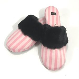 Victoria's Secret Pink & Black Stripe Slippers NWT